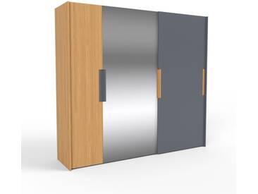 Kleiderschrank Eiche/Anthrazit - Individueller Designer-Kleiderschrank - 254 x 233 x 65 cm, Selbst Designen, Schuhauszug/hohe Schublade/Kleiderlift/Hosenhalter