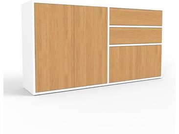 Sideboard Weiß - Sideboard: Schubladen in Eiche & Türen in Eiche - Hochwertige Materialien - 152 x 80 x 35 cm, konfigurierbar