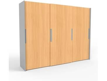 Kleiderschrank Grau - Individueller Designer-Kleiderschrank - 304 x 233 x 65 cm, Selbst Designen, hohe Schublade/Schublade Glasfront/Kleiderlift