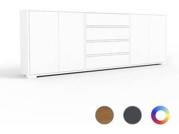 Sideboard Weiß - Sideboard: Schubladen in Weiß & Türen in Weiß - Hochwertige Materialien - 226 x 81 x 35 cm, konfigurierbar