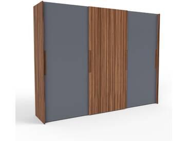 Kleiderschrank Nussbaum, Holz - Individueller Designer-Kleiderschrank - 304 x 233 x 65 cm, Selbst Designen, Kleiderstange/hohe Schublade/Kleiderlift