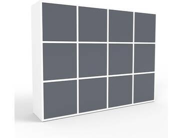 Highboard Weiß - Elegantes Highboard: Türen in Anthrazit - Hochwertige Materialien - 156 x 118 x 35 cm, Selbst designen