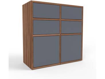 Sideboard Nussbaum - Sideboard: Schubladen in Anthrazit & Türen in Anthrazit - Hochwertige Materialien - 79 x 80 x 35 cm, konfigurierbar