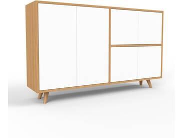 Sideboard Eiche - Designer-Sideboard: Türen in Weiß - Hochwertige Materialien - 152 x 91 x 35 cm, Individuell konfigurierbar