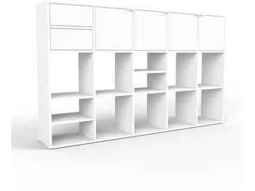 Bücherregal Weiß - Modernes Regal für Bücher: Schubladen in Weiß & Türen in Weiß - 195 x 118 x 35 cm, konfigurierbar