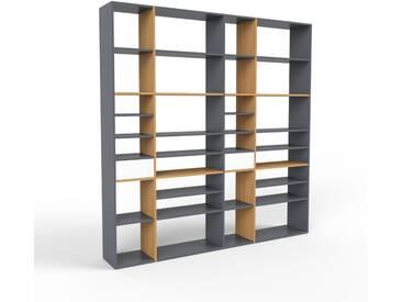 Bücherregal Anthrazit - Modernes Regal für Bücher: Schubladen in Weiß - 229 x 233 x 35 cm, Individuell konfigurierbar