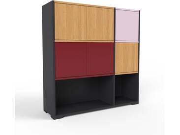 Highboard Schwarz - Elegantes Highboard: Türen in Eiche - Hochwertige Materialien - 116 x 120 x 35 cm, Selbst designen