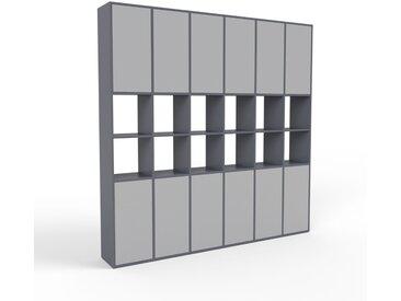Regalsystem Anthrazit - Flexibles Regalsystem: Türen in Grau - Hochwertige Materialien - 233 x 233 x 35 cm, Komplett anpassbar