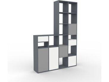 Regalsystem Anthrazit - Regalsystem: Schubladen in Weiß & Türen in Grau - Hochwertige Materialien - 156 x 233 x 35 cm, konfigurierbar