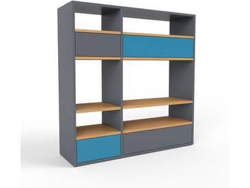 Highboard Anthrazit - Elegantes Highboard: Schubladen in Blau - Hochwertige Materialien - 116 x 118 x 35 cm, Selbst designen