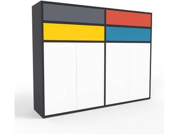 Aktenschrank Schwarz - Büroschrank: Schubladen in Anthrazit & Türen in Weiß - Hochwertige Materialien - 152 x 118 x 35 cm, Modular