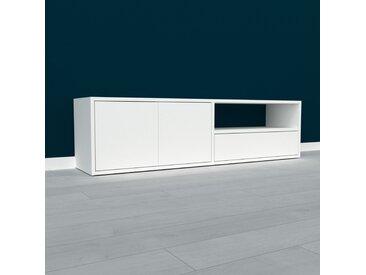 Lowboard Weiß - TV-Board: Schubladen in Weiß & Türen in Weiß - Hochwertige Materialien - 152 x 41 x 35 cm, Komplett anpassbar