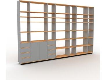 Regalsystem Grau - Regalsystem: Schubladen in Grau & Türen in Grau - Hochwertige Materialien - 380 x 239 x 35 cm, konfigurierbar