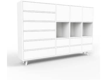 Sideboard Weiß - Sideboard: Schubladen in Weiß & Türen in Weiß - Hochwertige Materialien - 193 x 130 x 35 cm, konfigurierbar