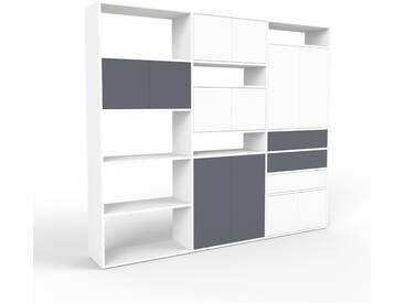 Regalsystem Weiß - Regalsystem: Schubladen in Anthrazit & Türen in Weiß - Hochwertige Materialien - 226 x 195 x 35 cm, konfigurierbar