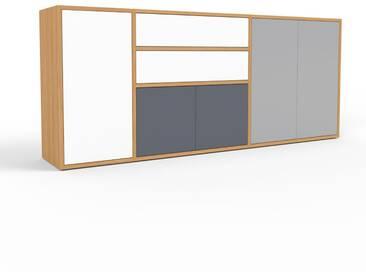 Sideboard Eiche - Sideboard: Schubladen in Weiß & Türen in Anthrazit - Hochwertige Materialien - 190 x 80 x 35 cm, konfigurierbar