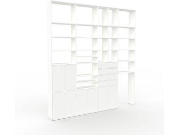 Regalsystem Weiß - Regalsystem: Schubladen in Weiß & Türen in Weiß - Hochwertige Materialien - 303 x 329 x 35 cm, konfigurierbar