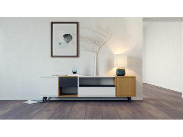 Lowboard Eiche - TV-Board: Schubladen in Schwarz & Türen in Weiß - Hochwertige Materialien - 193 x 53 x 35 cm, Komplett anpassbar