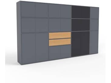 Aktenschrank Anthrazit - Büroschrank: Schubladen in Eiche & Türen in Anthrazit - Hochwertige Materialien - 265 x 157 x 35 cm, Modular