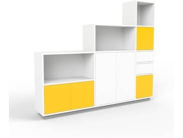 Aktenschrank Weiß - Büroschrank: Schubladen in Weiß & Türen in Gelb - Hochwertige Materialien - 190 x 162 x 35 cm, Modular