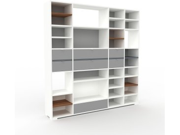 Regalsystem Weiß - Flexibles Regalsystem: Schubladen in Grau - Hochwertige Materialien - 193 x 196 x 35 cm, Komplett anpassbar