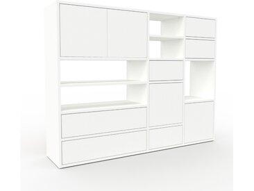 Schrankwand Weiß - Moderne Wohnwand: Schubladen in Weiß & Türen in Weiß - Hochwertige Materialien - 154 x 118 x 35 cm, Konfigurator