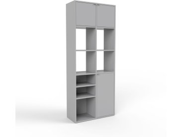 Aktenregal Grau - Flexibles Büroregal: Türen in Grau - Hochwertige Materialien - 79 x 195 x 35 cm, konfigurierbar