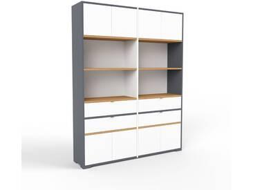 Aktenschrank Anthrazit - Büroschrank: Schubladen in Weiß & Türen in Weiß - Hochwertige Materialien - 152 x 196 x 35 cm, Modular