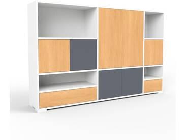 Sideboard Weiß - Sideboard: Schubladen in Buche & Türen in Buche - Hochwertige Materialien - 190 x 120 x 35 cm, konfigurierbar
