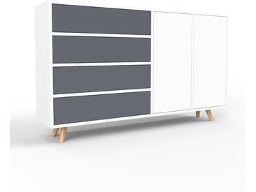 Sideboard Weiß - Sideboard: Schubladen in Anthrazit & Türen in Weiß - Hochwertige Materialien - 154 x 91 x 35 cm, konfigurierbar