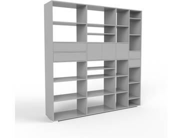 Regalsystem Grau - Regalsystem: Schubladen in Grau & Türen in Grau - Hochwertige Materialien - 229 x 235 x 47 cm, konfigurierbar