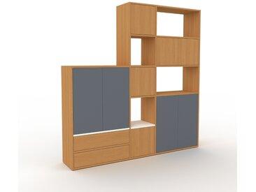 Regalsystem Eiche - Regalsystem: Schubladen in Eiche & Türen in Eiche - Hochwertige Materialien - 190 x 195 x 35 cm, konfigurierbar