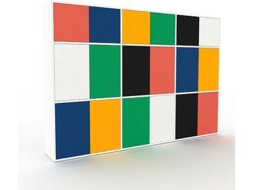 Wohnwand Weiß - Individuelle Designer-Regalwand: Türen in Nachtblau - Hochwertige Materialien - 226 x 157 x 35 cm, Konfigurator