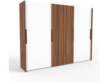 Kleiderschrank Nussbaum, Holz - Individueller Designer-Kleiderschrank - 304 x 233 x 65 cm, Selbst Designen, hohe Schublade/Schublade Glasfront/Kleiderlift
