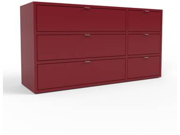 Sideboard Burgundrot - Designer-Sideboard: Schubladen in Burgundrot - Hochwertige Materialien - 116 x 61 x 35 cm, Individuell konfigurierbar