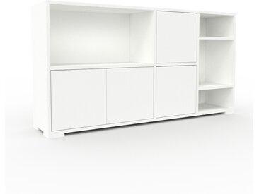 Schallplattenregal Weiß - Modernes Regal für Schallplatten: Türen in Weiß - 154 x 81 x 35 cm, Selbst designen