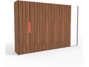 Kleiderschrank Nussbaum, Holz - Individueller Designer-Kleiderschrank - 354 x 233 x 62 cm, Selbst Designen, Schuhauszug/hohe Schublade/Schublade Glasfront/Kleiderlift/Hosenhalter