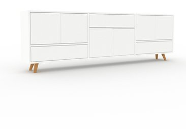 Lowboard Weiß - TV-Board: Schubladen in Weiß & Türen in Weiß - Hochwertige Materialien - 226 x 72 x 35 cm, Komplett anpassbar