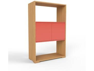 Bücherregal Eiche - Modernes Regal für Bücher: Türen in Rot - 77 x 120 x 35 cm, Individuell konfigurierbar