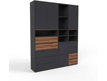 Aktenschrank Schwarz - Büroschrank: Schubladen in Schwarz & Türen in Schwarz - Hochwertige Materialien - 154 x 195 x 35 cm, Modular