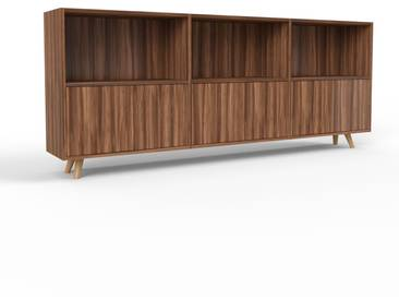 Sideboard Nussbaum - Designer-Sideboard: Türen in Nussbaum - Hochwertige Materialien - 226 x 91 x 35 cm, Individuell konfigurierbar