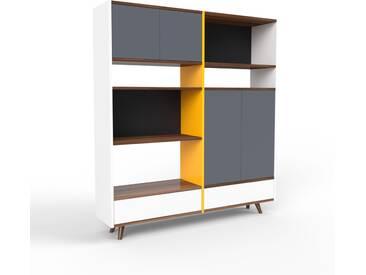 Regalsystem Weiß - Regalsystem: Schubladen in Weiß & Türen in Anthrazit - Hochwertige Materialien - 152 x 168 x 35 cm, konfigurierbar