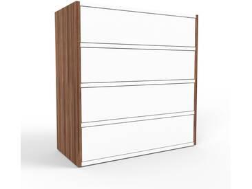 Kommode Nussbaum - Design-Lowboard: Schubladen in Weiß - Hochwertige Materialien - 77 x 80 x 35 cm, Selbst zusammenstellen