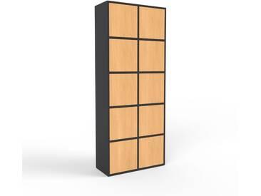 Aktenschrank Schwarz - Flexibler Büroschrank: Türen in Buche - Hochwertige Materialien - 79 x 195 x 35 cm, Modular