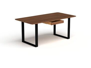 Schreibtisch Massivholz Nussbaum - Moderner Massivholz-Schreibtisch: mit 1 Schublade/n - Hochwertige Materialien - 180 x 75 x 90 cm, konfigurierbar