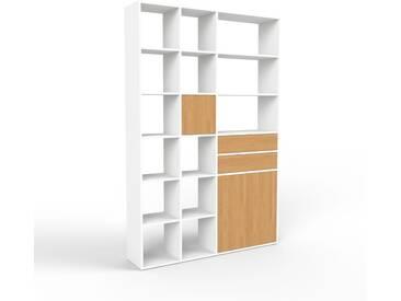 Bücherregal Weiß - Modernes Regal für Bücher: Schubladen in Eiche & Türen in Eiche - 154 x 233 x 35 cm, konfigurierbar