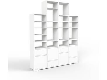 Bücherregal Weiß - Modernes Regal für Bücher: Schubladen in Weiß & Türen in Weiß - 156 x 196 x 35 cm, konfigurierbar