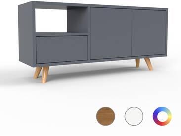 TV-Schrank Anthrazit - Fernsehschrank: Schubladen in Anthrazit & Türen in Anthrazit - 116 x 53 x 35 cm, konfigurierbar