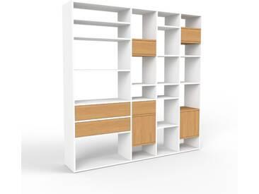 Bücherregal Weiß - Modernes Regal für Bücher: Schubladen in Eiche & Türen in Eiche - 193 x 195 x 35 cm, konfigurierbar