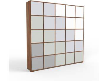 Aktenschrank Nussbaum - Flexibler Büroschrank: Türen in Sandgrau - Hochwertige Materialien - 195 x 196 x 35 cm, Modular